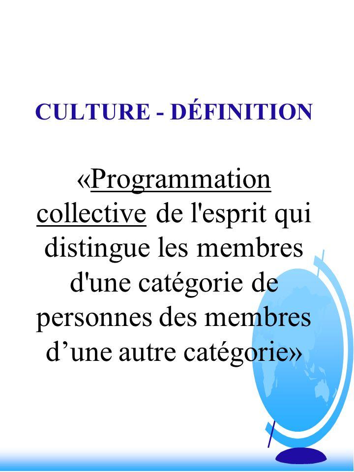 CULTURE - DÉFINITION «Programmation collective de l esprit qui distingue les membres d une catégorie de personnes des membres d'une autre catégorie»