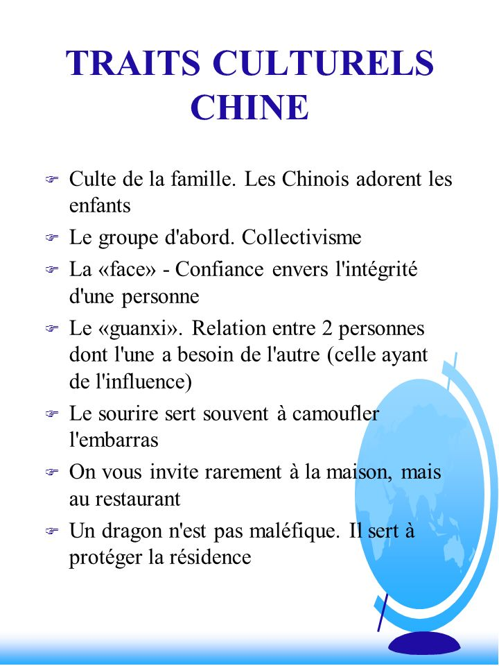 TRAITS CULTURELS CHINE