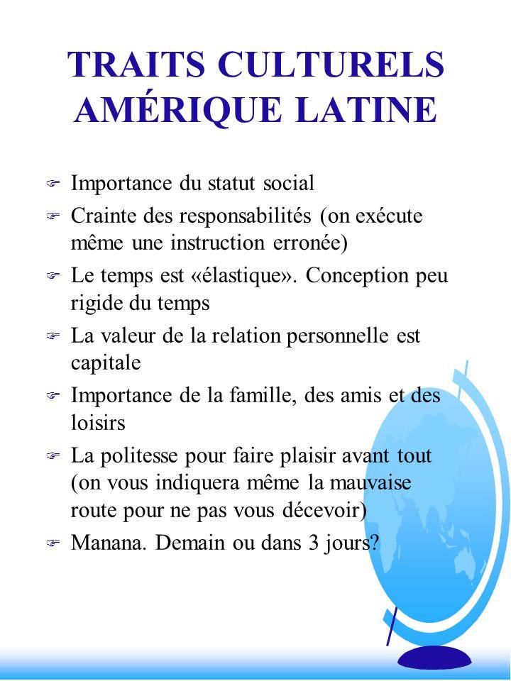 TRAITS CULTURELS AMÉRIQUE LATINE