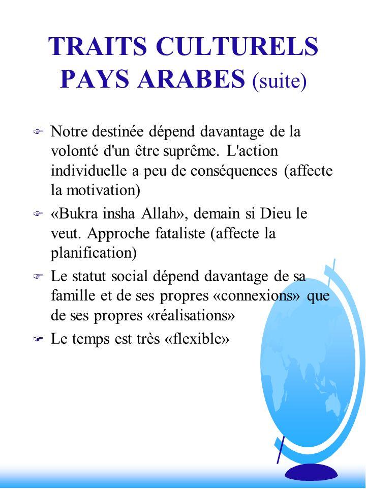 TRAITS CULTURELS PAYS ARABES (suite)