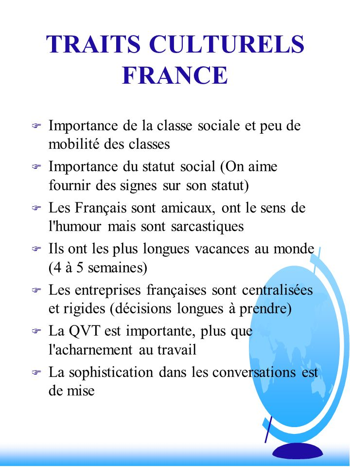 TRAITS CULTURELS FRANCE