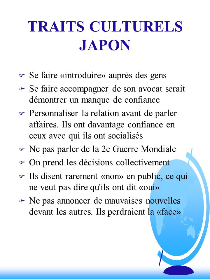 TRAITS CULTURELS JAPON