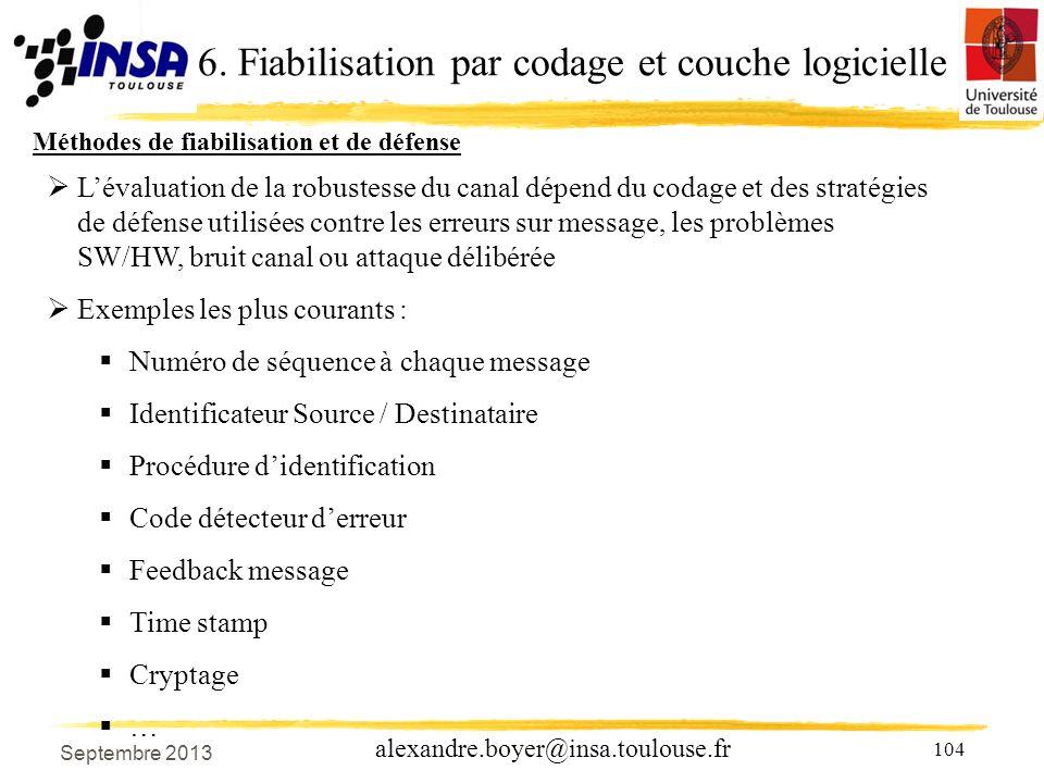 6. Fiabilisation par codage et couche logicielle