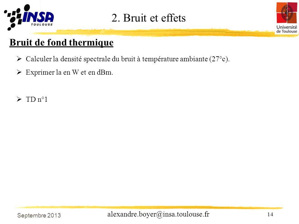 2. Bruit et effets Bruit de fond thermique