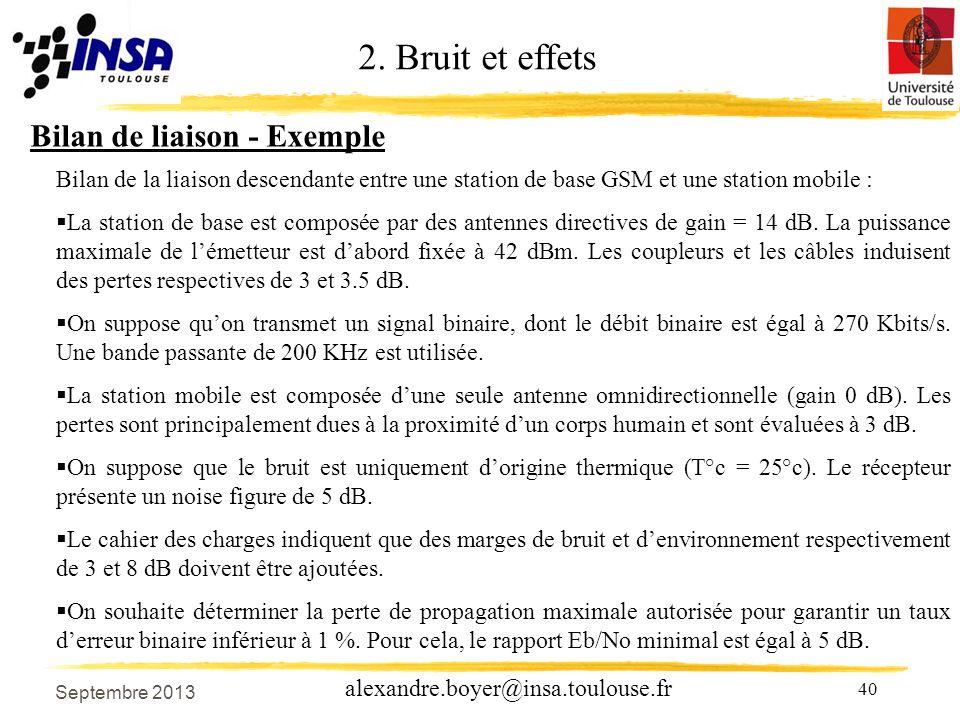 2. Bruit et effets Bilan de liaison - Exemple
