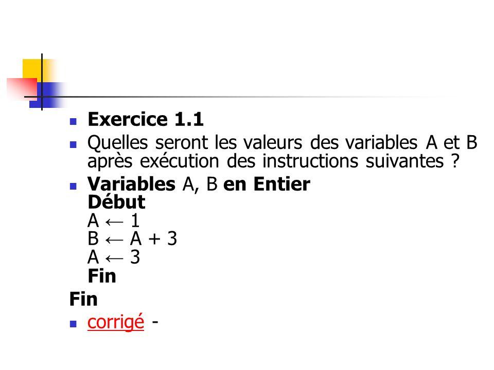 Exercice 1.1 Quelles seront les valeurs des variables A et B après exécution des instructions suivantes