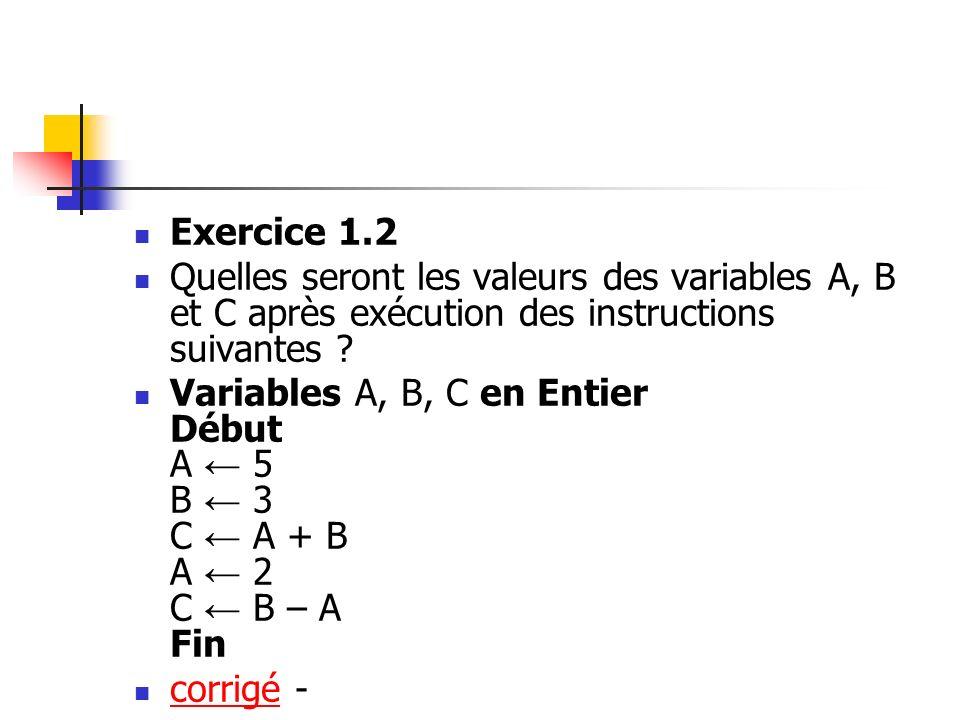 Exercice 1.2 Quelles seront les valeurs des variables A, B et C après exécution des instructions suivantes