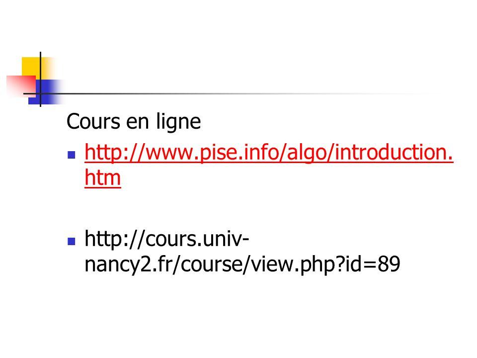 Cours en ligne http://www.pise.info/algo/introduction.htm.