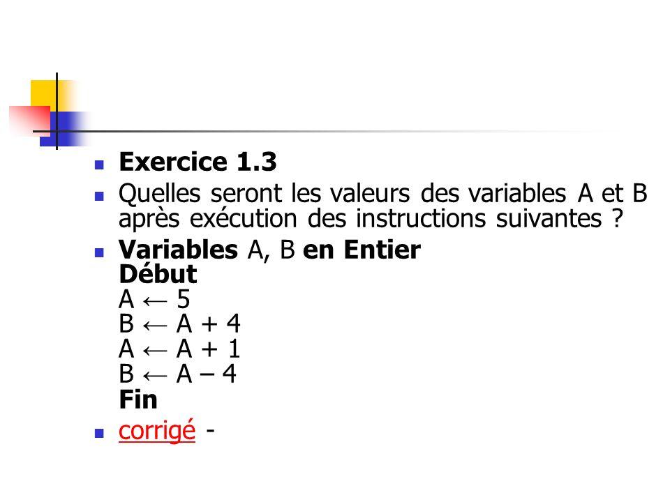 Exercice 1.3 Quelles seront les valeurs des variables A et B après exécution des instructions suivantes