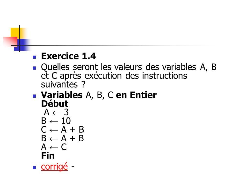 Exercice 1.4 Quelles seront les valeurs des variables A, B et C après exécution des instructions suivantes