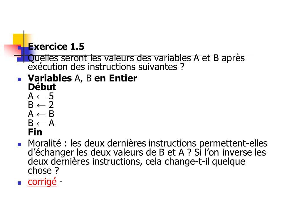 Exercice 1.5 Quelles seront les valeurs des variables A et B après exécution des instructions suivantes