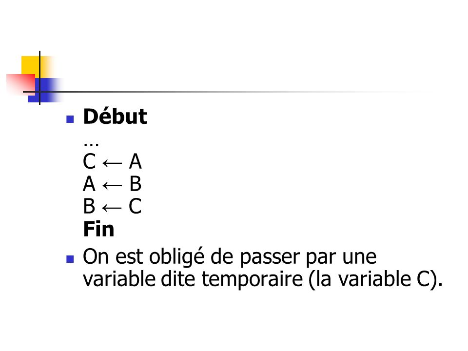Début … C ← A A ← B B ← C Fin On est obligé de passer par une variable dite temporaire (la variable C).
