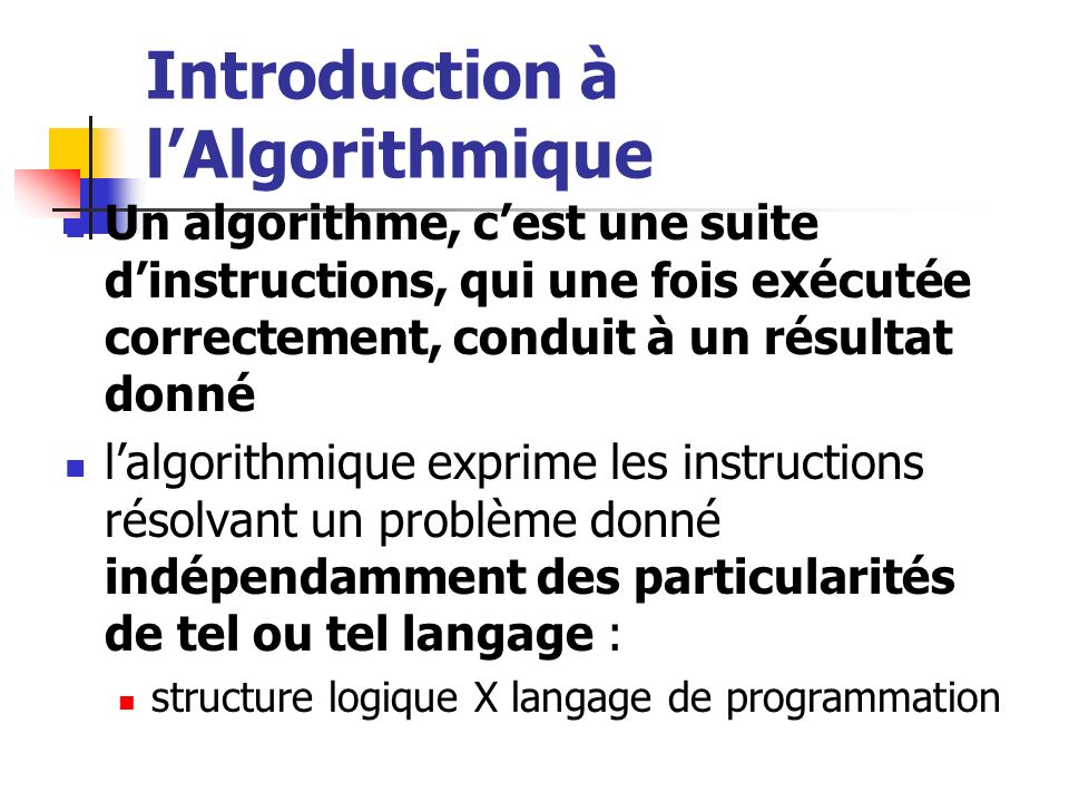 Introduction à l'Algorithmique