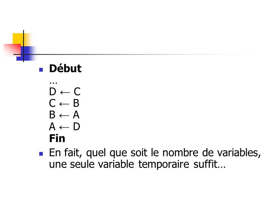 Début … D ← C C ← B B ← A A ← D Fin