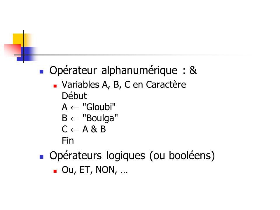Opérateur alphanumérique : &