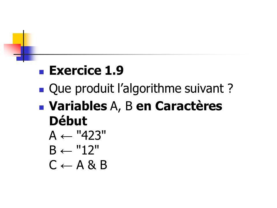 Exercice 1.9 Que produit l'algorithme suivant .