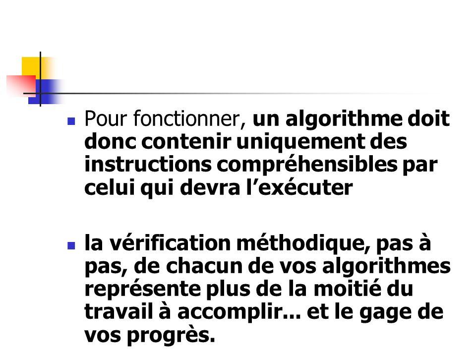Pour fonctionner, un algorithme doit donc contenir uniquement des instructions compréhensibles par celui qui devra l'exécuter