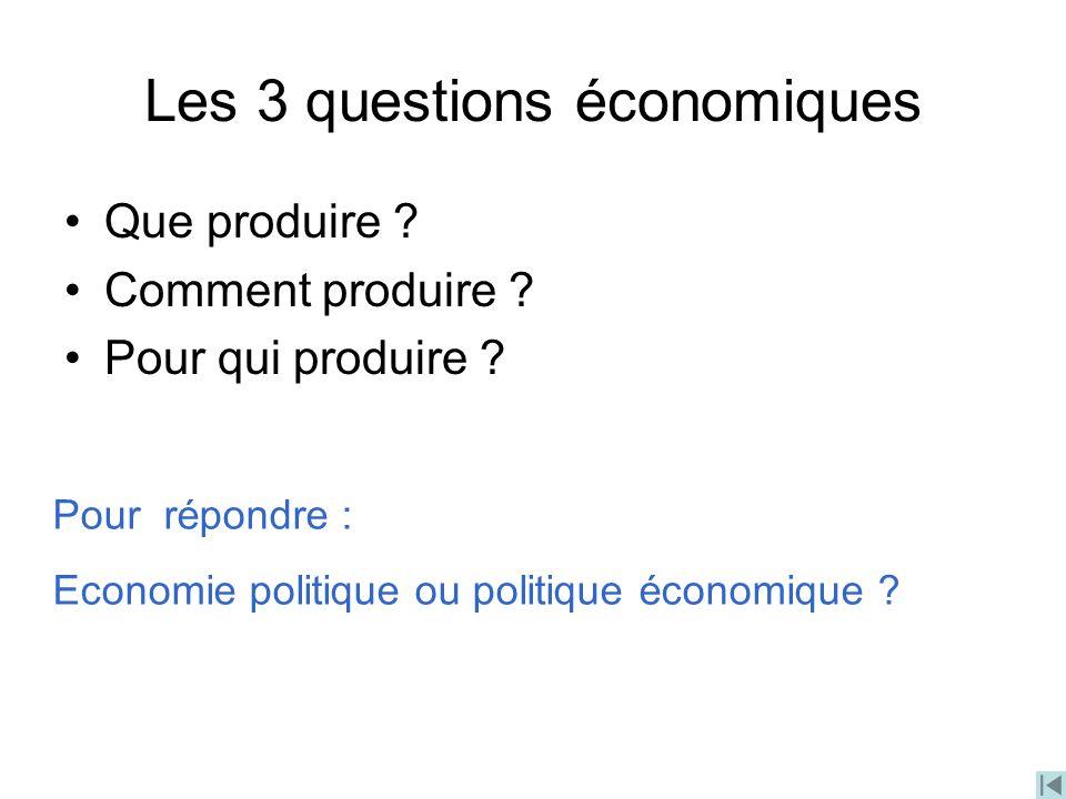 Les 3 questions économiques
