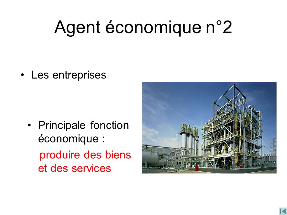 Agent économique n°2 Les entreprises Principale fonction économique :