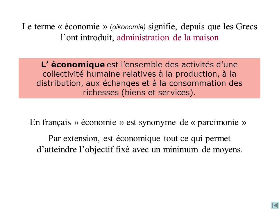 En français « économie » est synonyme de « parcimonie »