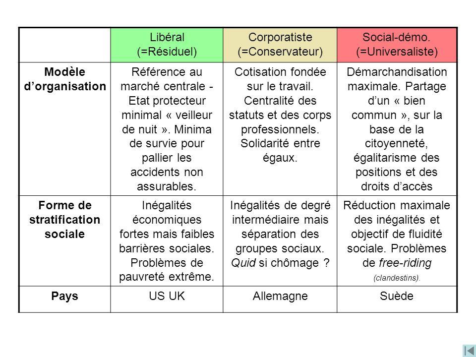Modèle d'organisation Forme de stratification sociale