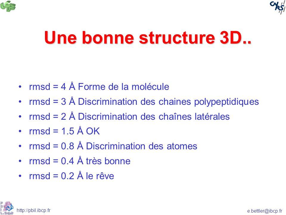 Une bonne structure 3D.. rmsd = 4 Å Forme de la molécule