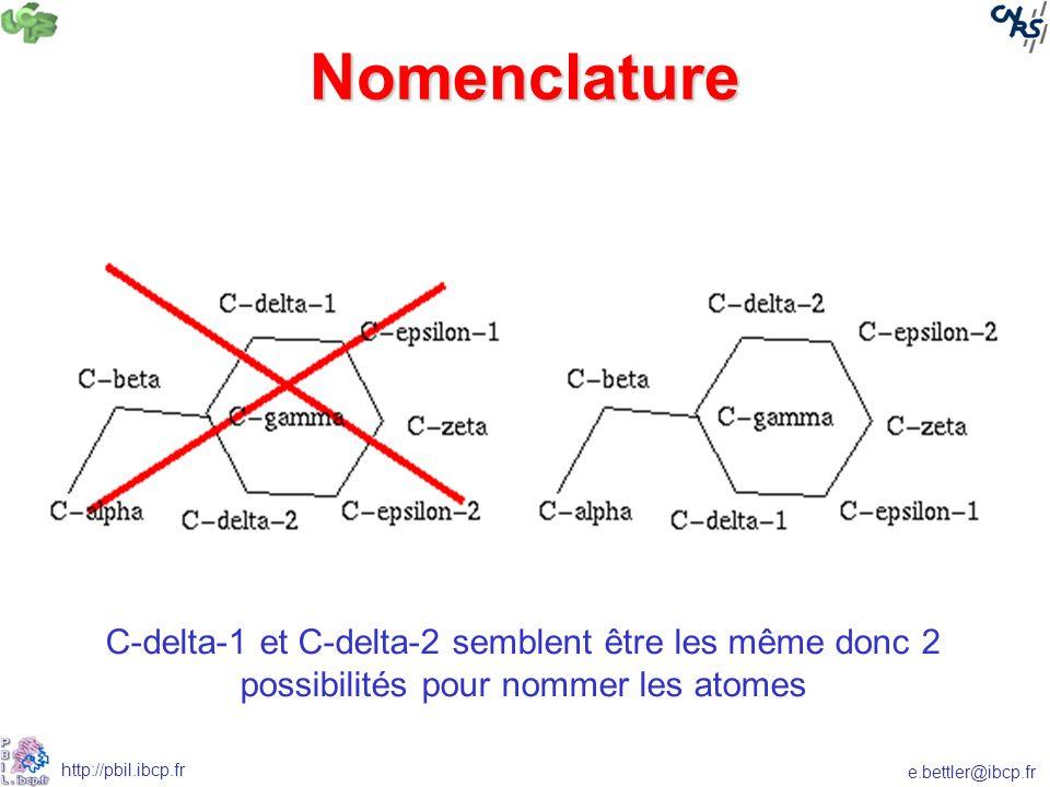 Nomenclature C-delta-1 et C-delta-2 semblent être les même donc 2 possibilités pour nommer les atomes.