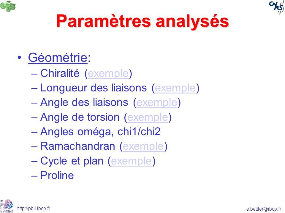 Paramètres analysés Géométrie: Chiralité (exemple)