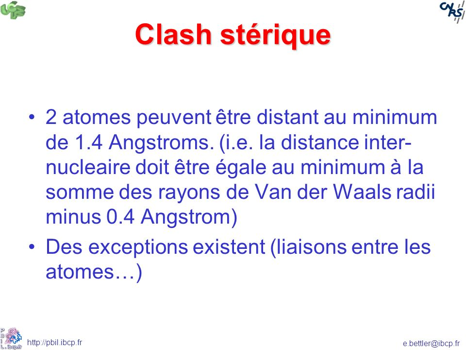 Clash stérique