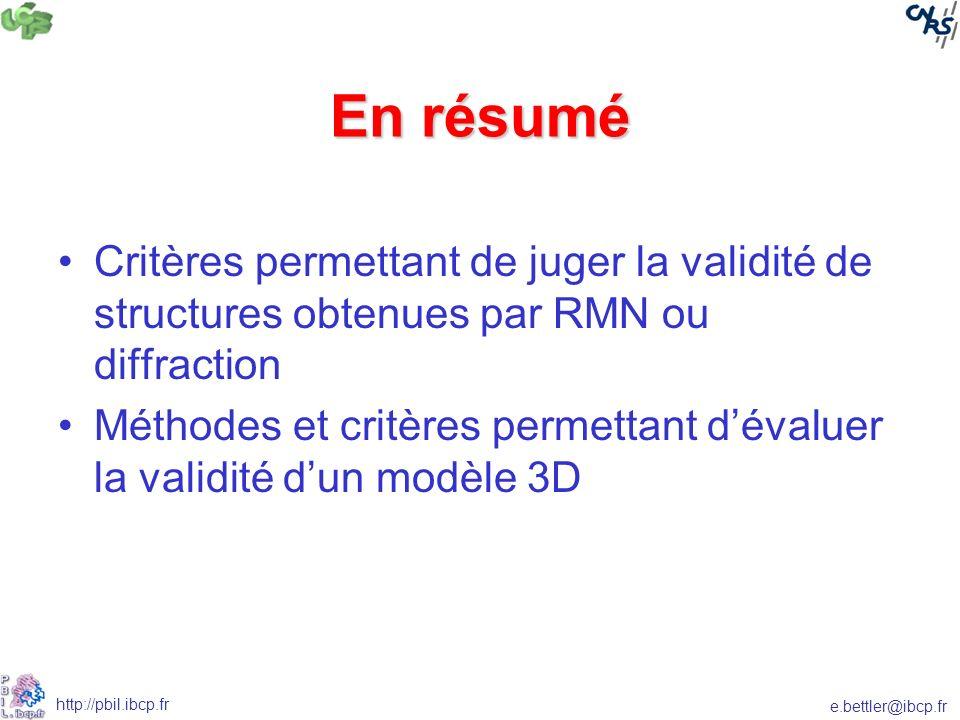En résumé Critères permettant de juger la validité de structures obtenues par RMN ou diffraction.