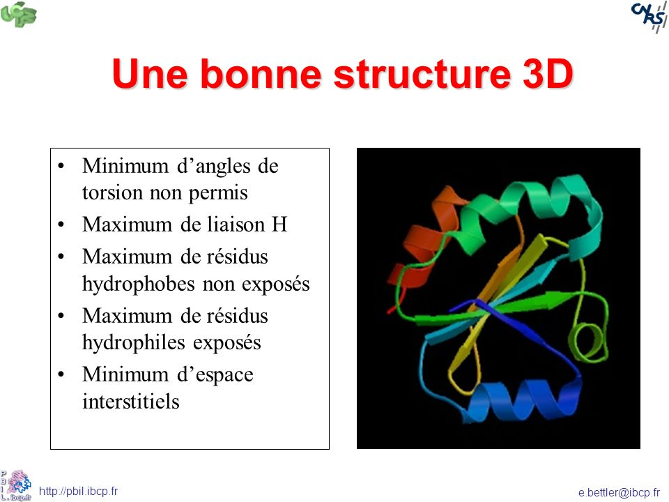Une bonne structure 3D Minimum d'angles de torsion non permis