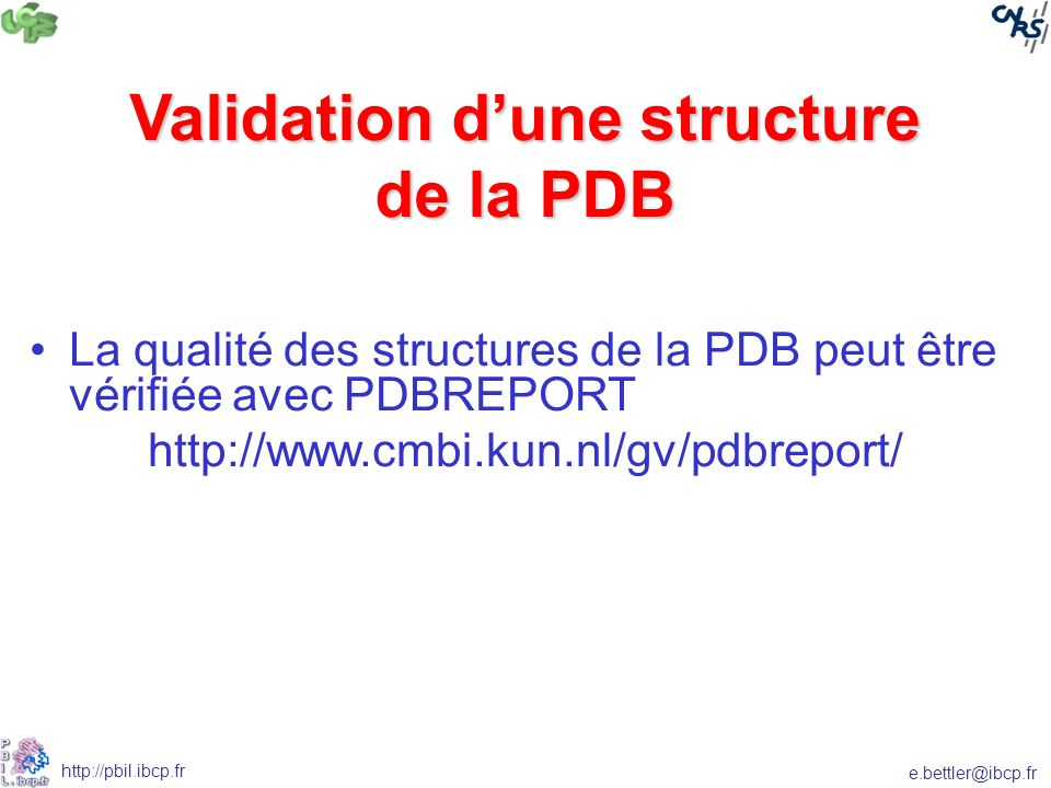 Validation d'une structure de la PDB