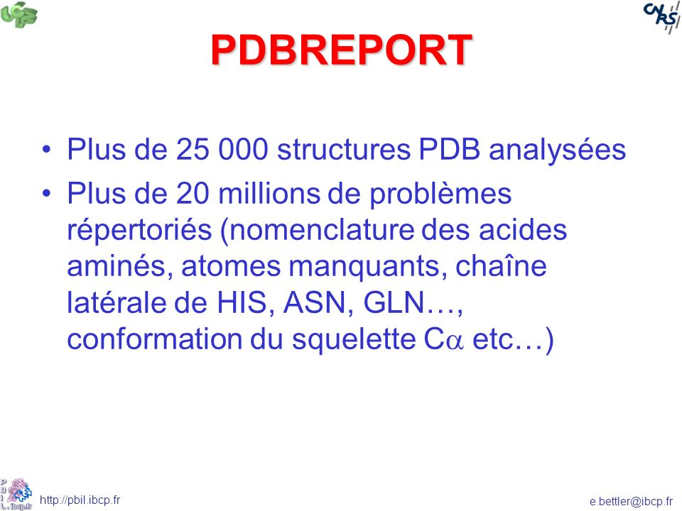 PDBREPORT Plus de 25 000 structures PDB analysées