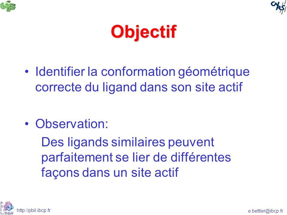 Objectif Identifier la conformation géométrique correcte du ligand dans son site actif. Observation: