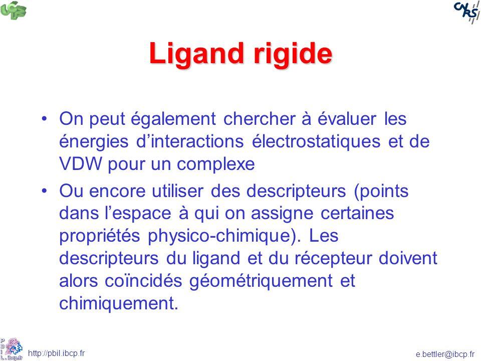 Ligand rigide On peut également chercher à évaluer les énergies d'interactions électrostatiques et de VDW pour un complexe.