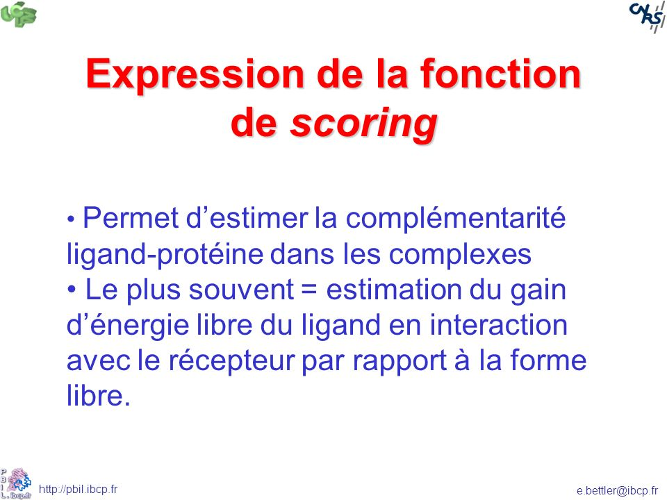 Expression de la fonction de scoring