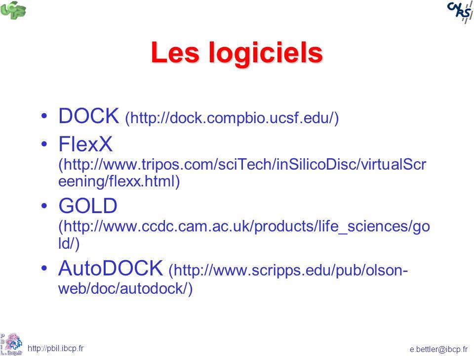 Les logiciels DOCK (http://dock.compbio.ucsf.edu/)