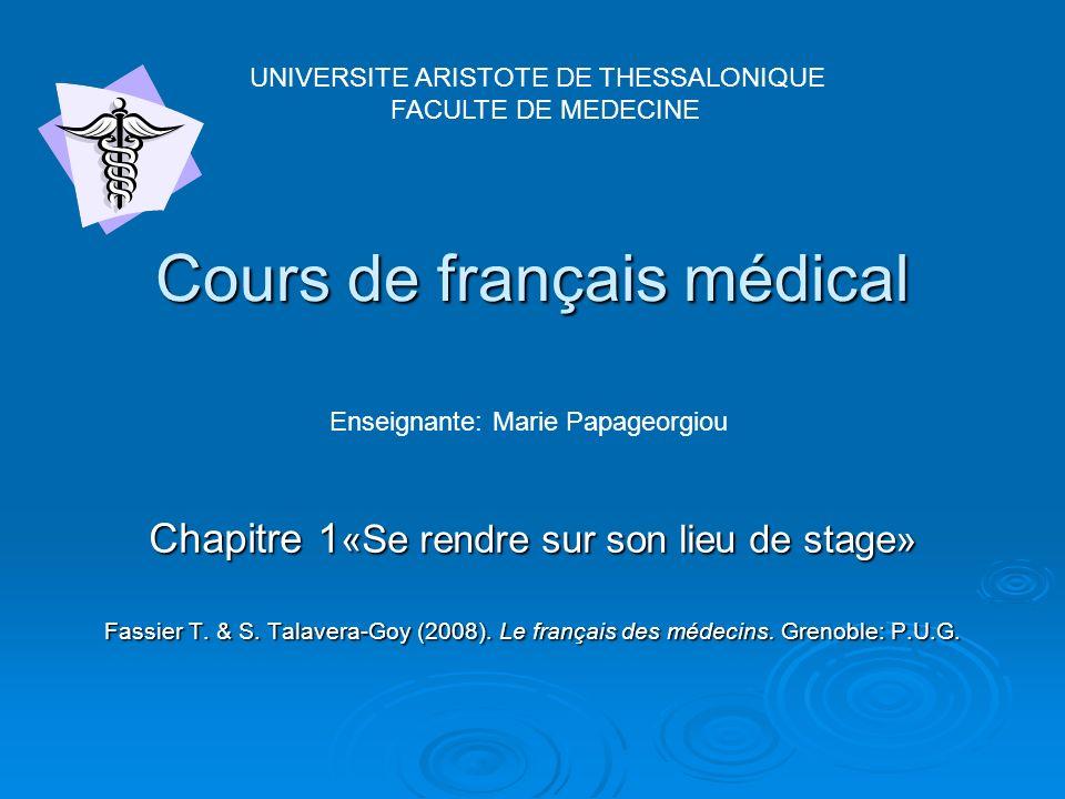 Cours de français médical