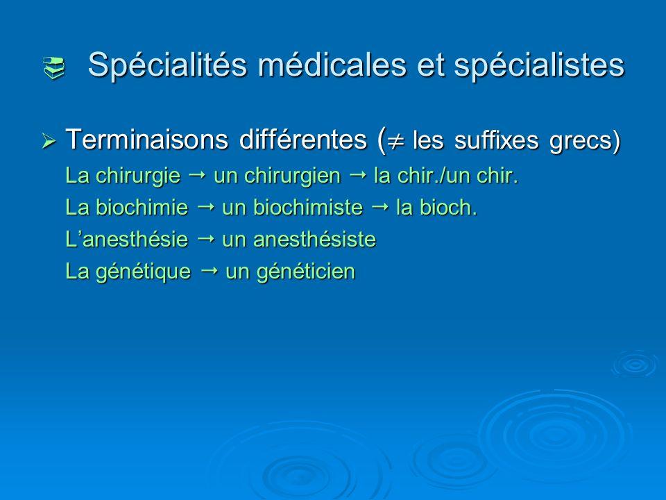  Spécialités médicales et spécialistes