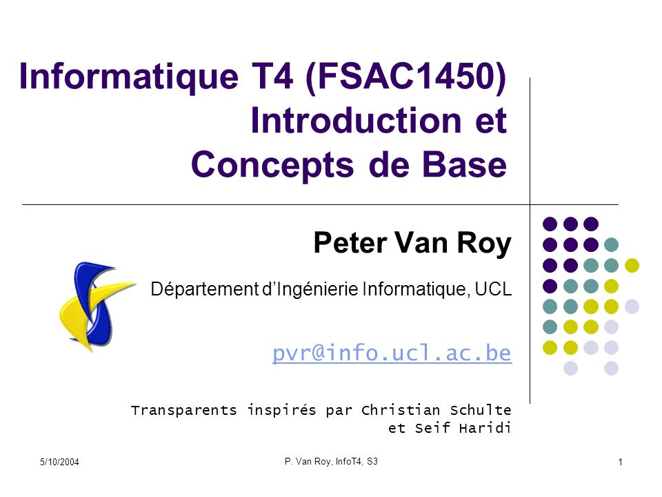 Informatique T4 (FSAC1450) Introduction et Concepts de Base