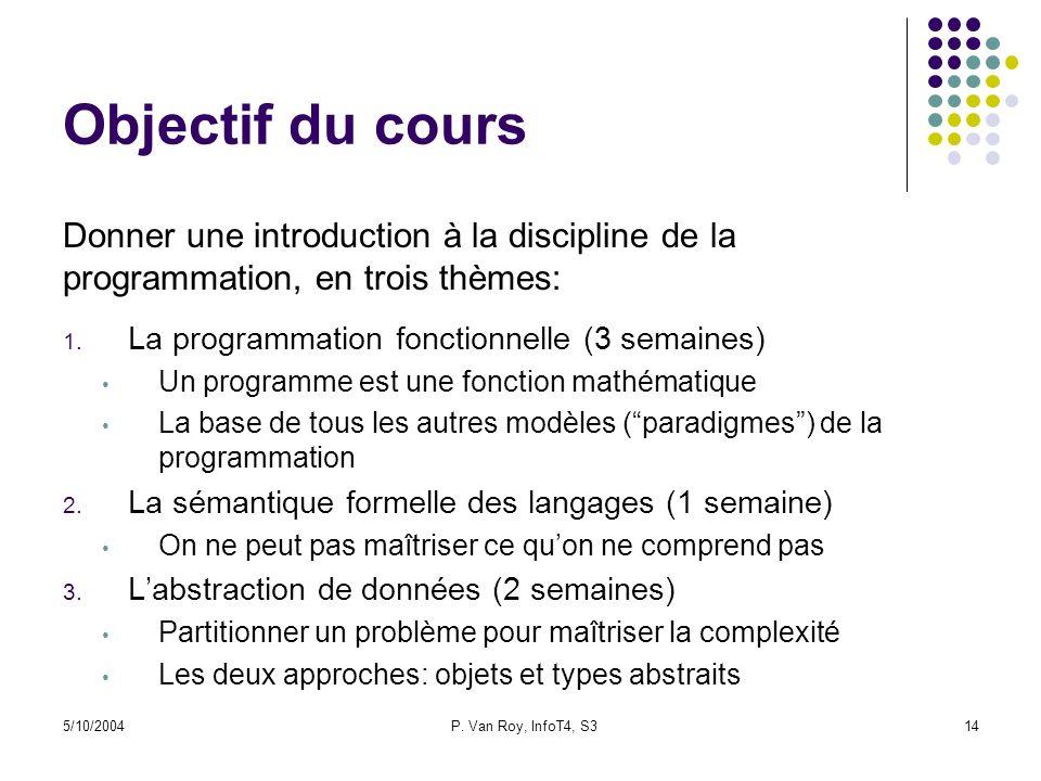 Objectif du cours Donner une introduction à la discipline de la programmation, en trois thèmes: La programmation fonctionnelle (3 semaines)