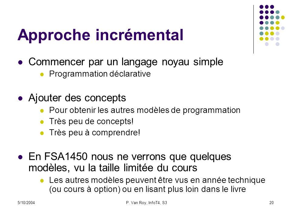 Approche incrémental Commencer par un langage noyau simple