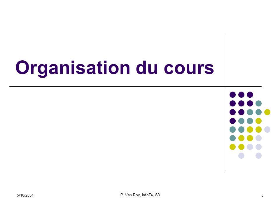 Organisation du cours 5/10/2004 P. Van Roy, InfoT4, S3