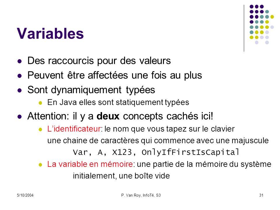 Variables Des raccourcis pour des valeurs