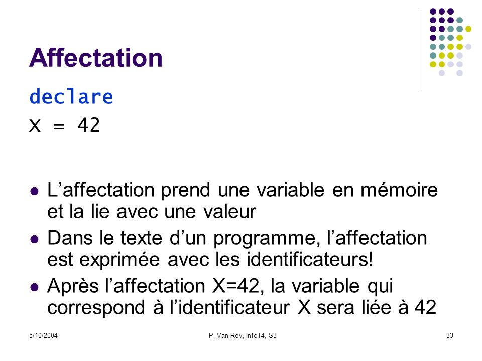 Affectation declare X = 42