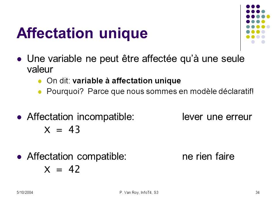 Affectation unique Une variable ne peut être affectée qu'à une seule valeur. On dit: variable à affectation unique.