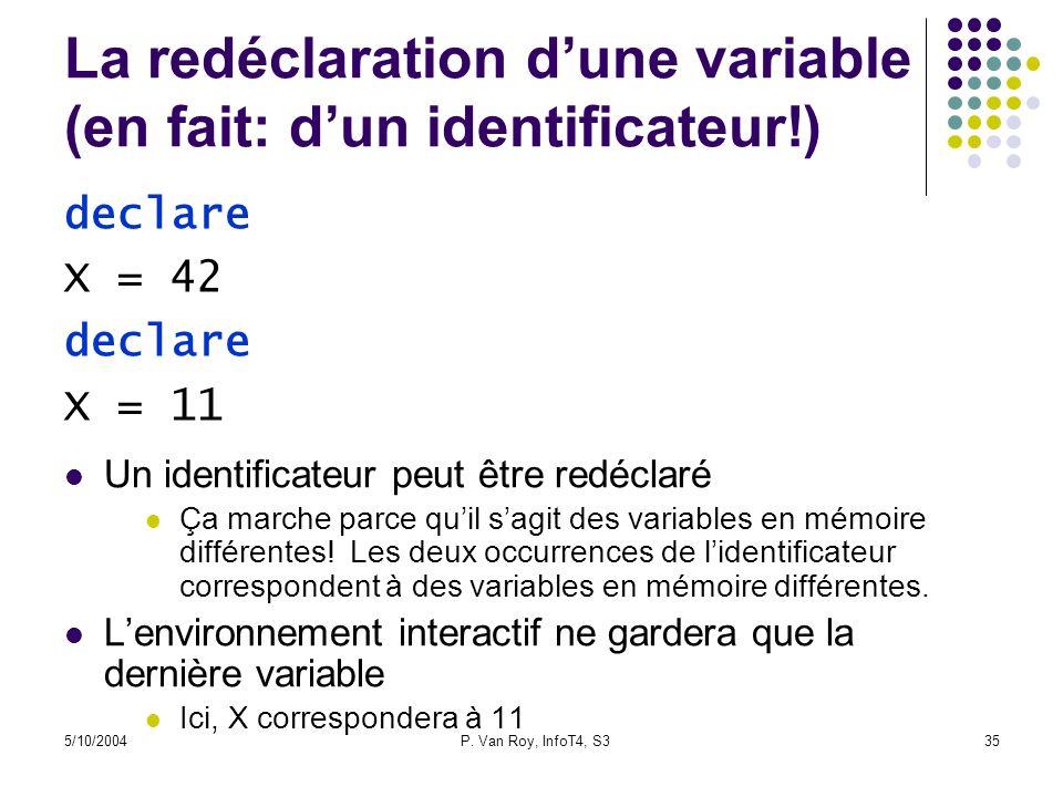 La redéclaration d'une variable (en fait: d'un identificateur!)