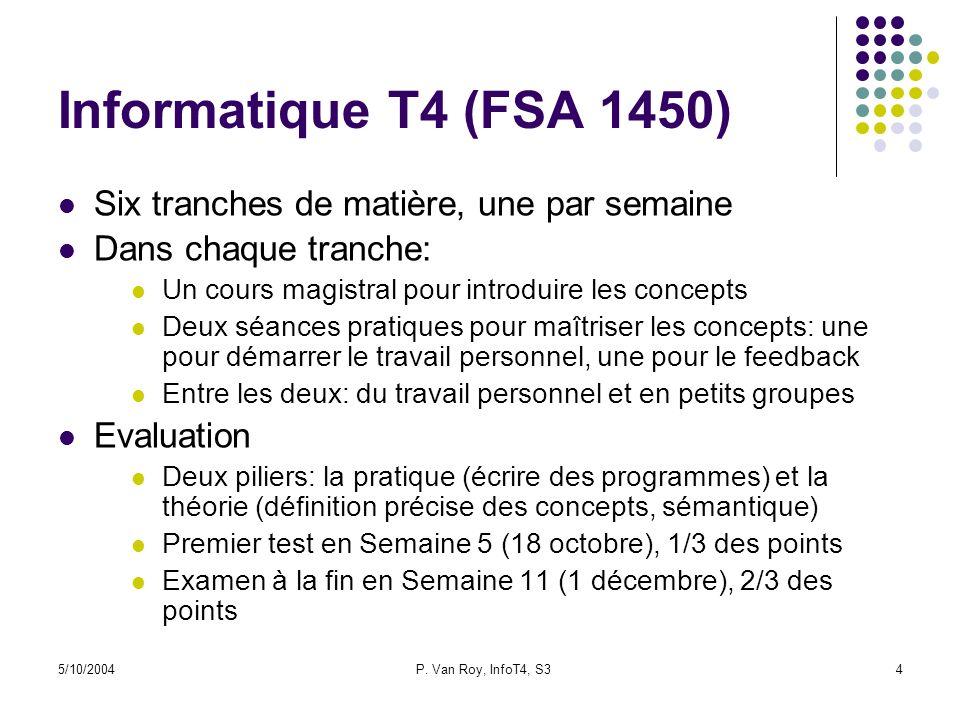 Informatique T4 (FSA 1450) Six tranches de matière, une par semaine