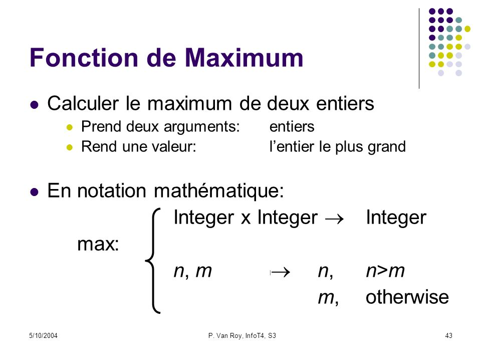 Fonction de Maximum Calculer le maximum de deux entiers