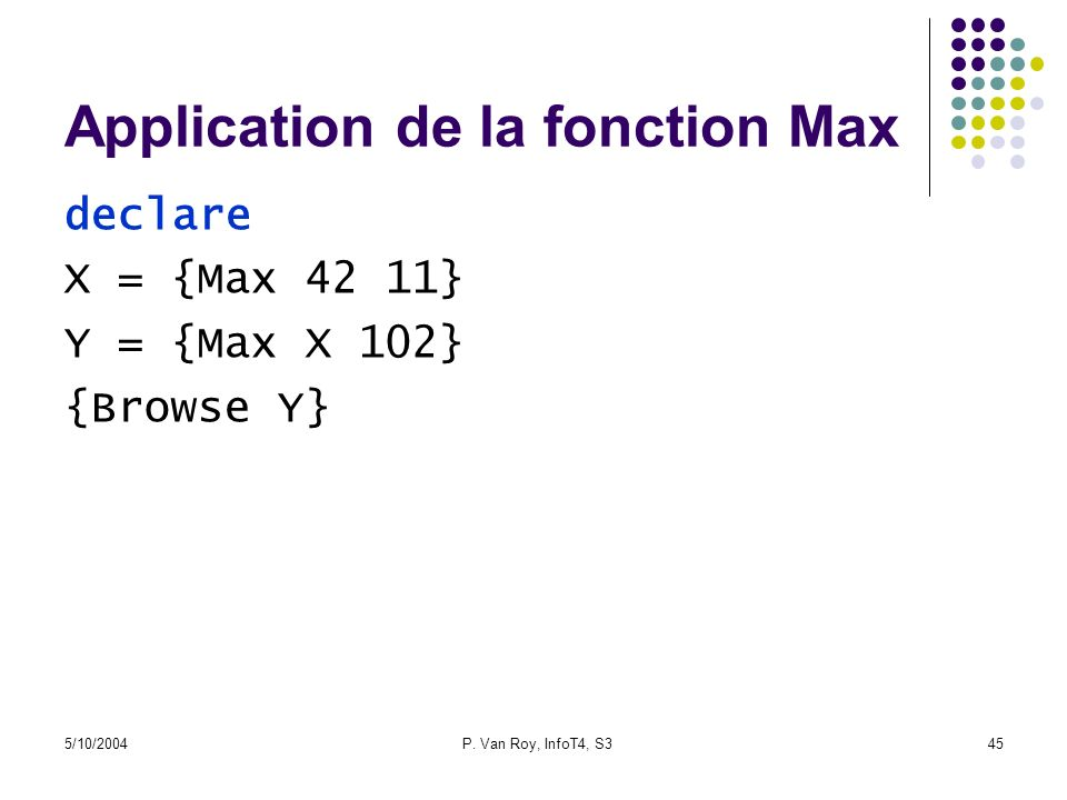 Application de la fonction Max